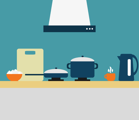 interior desing: Kitchen interior in flat desing Illustration