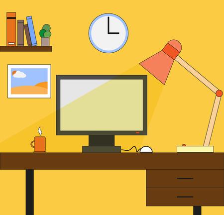 businesslike: Escritorio de oficina en estilo plano Vectores