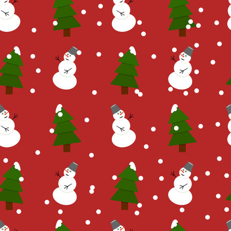 firtrees: Seamless snowman and fir-trees pattern with snow Illustration