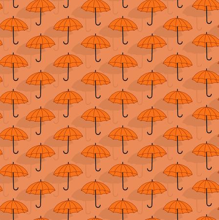 contrasting: Simple seamless pattern with orange umbrellas
