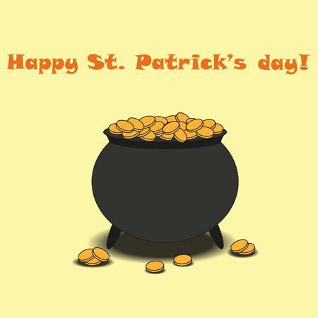 holiday profits: Pot Of Gold: Leprechaun treasure. Cartoon style