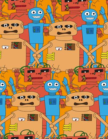 bright colour: Cartoon robots seamless pattern in bright colour