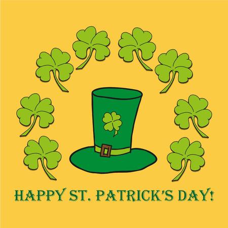 St. Patricks Day poster. Leprechauns green hat.