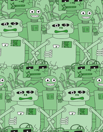 bolt head: Cartoon robots seamless pattern in green colour Illustration