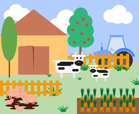 agrimotor: Illustration of cows and pigs at the farm with a barn and fence