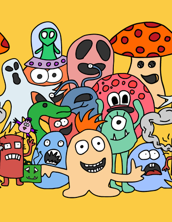 Funny monsters seamless pattern in bright colours