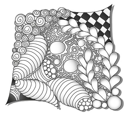 zentangle: Abstract monochrome zentangle ornamen - hand drawn