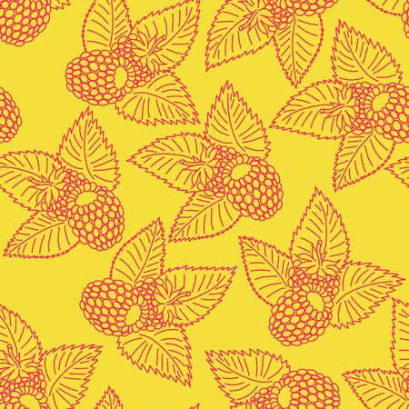 raspberry pink: Seamless pattern with raspberry in pink and yellow colors