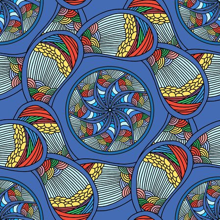 kaleidoscopic: abstract seamless pattern. Vector background in bright colors