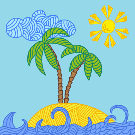 Zentangle illustration of tropical island with palms and waves