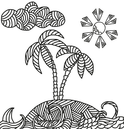 cartoon palm tree: Zentangle illustration of tropical island with palms and waves