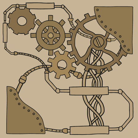 Mechanism background with cogwheels and gears. Vector illustration Illustration