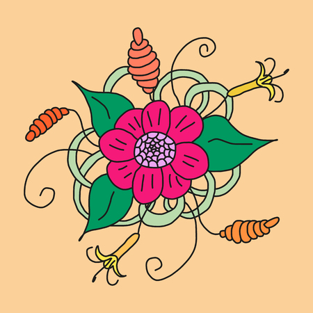 ethic: Floral hand drawn zentangle in bright color. Vector illustration Illustration