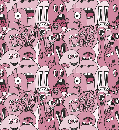 Doodle monsters seamless pattern in purpur colors.