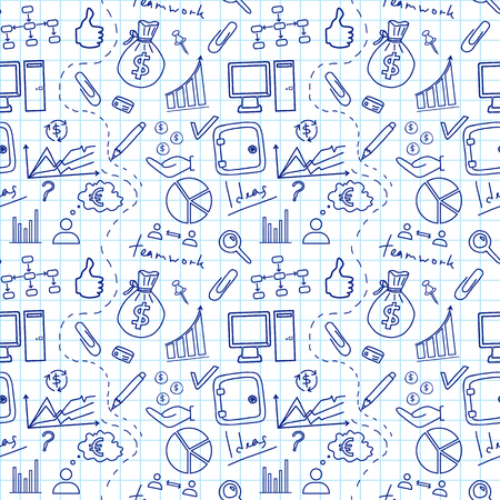 doddle: Seamless sketch of business doddle elements on notebook