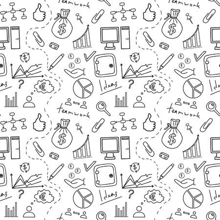 Seamless sketch of business doddle elements. Vector illustration. Stock Illustratie