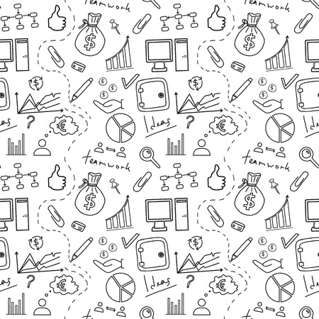 Seamless sketch of business doddle elements. Vector illustration. Ilustração