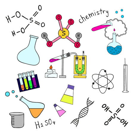 Colorful sketch of science doddle elements on notebook. Vector