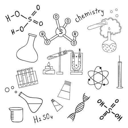 Sketch of science doddle elements. Vector illustration. Vector