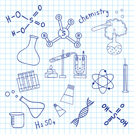 Sketch of science doddle elements on notebook. Vector