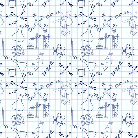 Seamless sketch of science doddle elements on notebook. Vector
