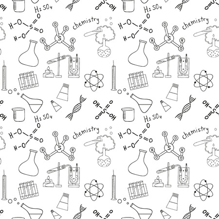 Seamless sketch of science doddle elements. Vector illustration.
