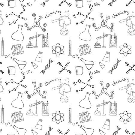 Seamless Skizze Wissenschaft doddle Elemente. Vektor-Illustration. Standard-Bild - 39684509
