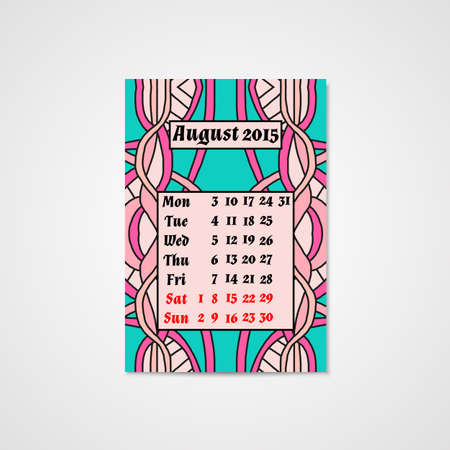 Calendar design with doodle abstract pattern. Hand drawn art.