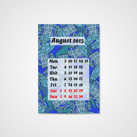 whit: Calendar design whit doodle abstract house. Hand drawn art.