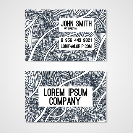 whit: Business card template whit  hand-drawn waves. Corporate identity.