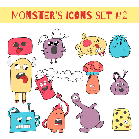 Set of doodle monsters icons in bright colors.
