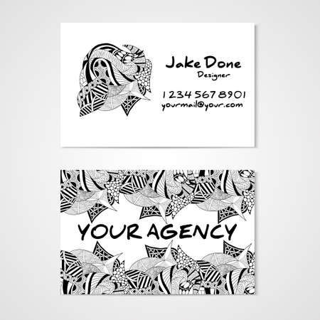 cutaway drawing: Business card template whit hand drawn ornament. Corporate identity. Illustration