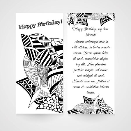 designe: Designe greeting card with abstract hand drawn pattern in black and white colors Illustration