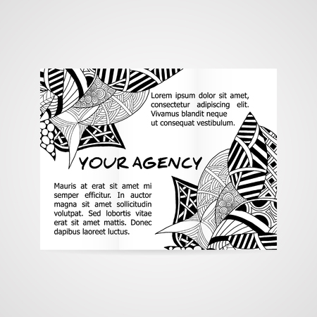 cutaway drawing: Design of brochure company. Abstract hand drawn pattern.
