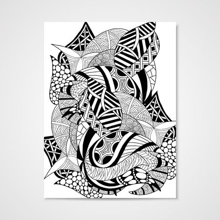 scaly: Abstract hand-drawn pattern. Vector Illustration in black and white colors. Illustration