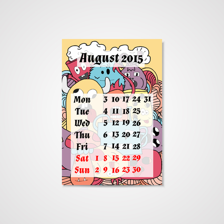Calendar design with doodle abstract monsters pattern in bright colors