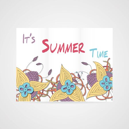 summer's: Summers brochure with abstract hamd drawn flower in bright colors Illustration