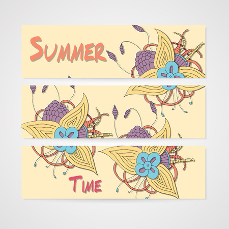 summer's: Summers banner with abstract hamd drawn flower in bright colors Illustration