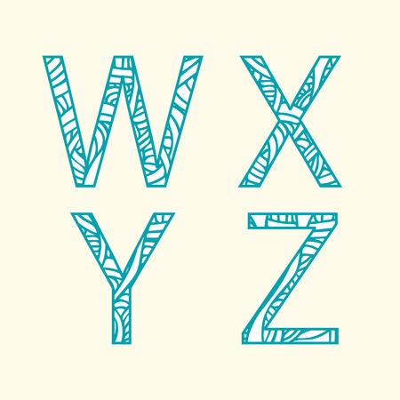 Doodle alphabet. Letter W, X, Y, Z.