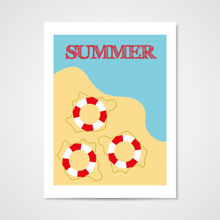 Summer poster with lifebouy in flat style. Illustration