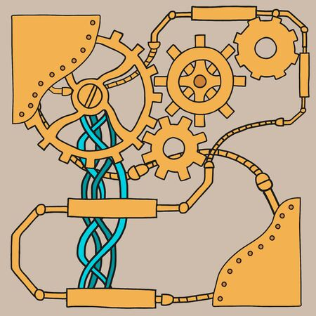 rusty: Mechanism background with cogwheels and gears. Vector illustration Illustration