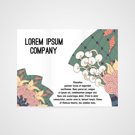 cutaway drawing: Opuscolo con motivo floreale astratto a colori vivaci Vettoriali
