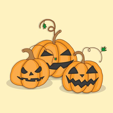 glowing carved: Set pumpkins for Halloween. Vector illustration in bright colors. Illustration