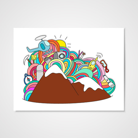 Abstract doodle pattern with ski and other object for ski vacation Illustration