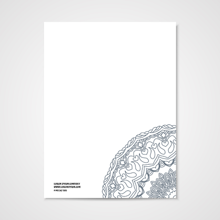 cutaway drawing: Graphic design letterhead with hand drawn outline ornament