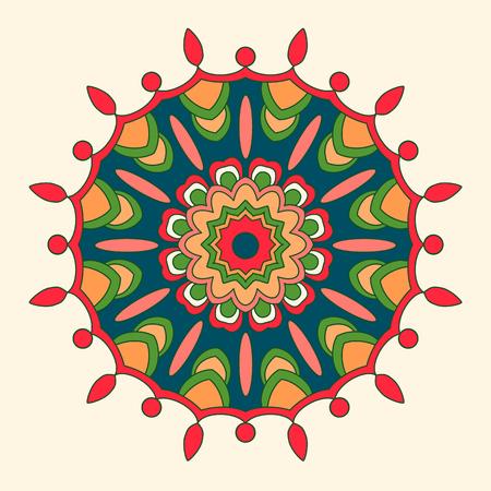 cutaway drawing: Abstract hand drawn ornament in bright colors. Mandala.