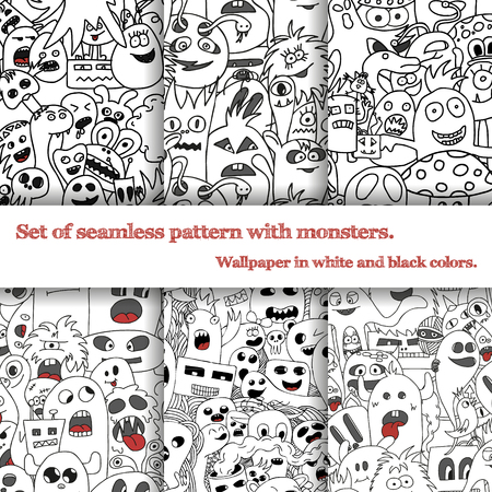 lining fabric: Set of six seamless pattern with doodle monsters in black and white colors. Illustration