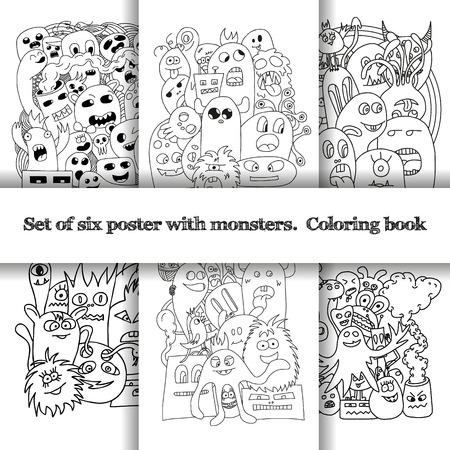 monster teeth: Set of six pattern with doodle monsters in black and white colors. Illustration