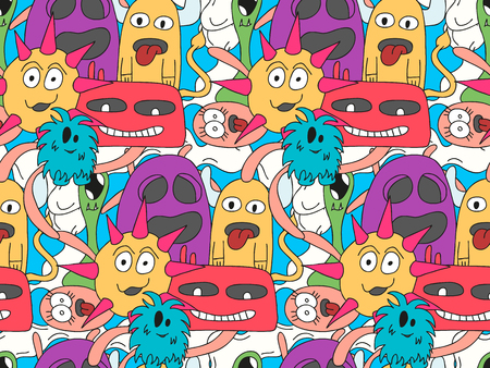 pattern monster: Doodle monsters seamless pattern in bright colors. Ornament for textiles, packaging paper and background. Illustration
