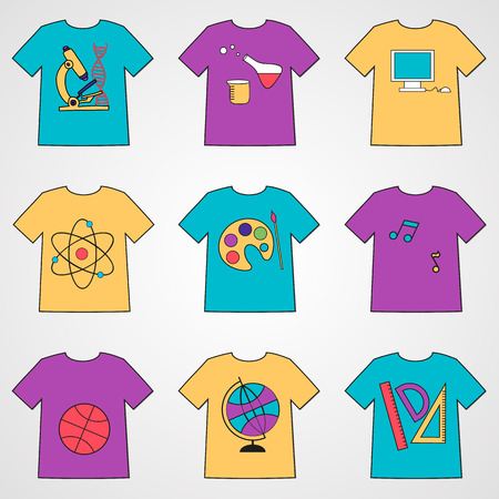 reagents: Set of T-shirts with school icons - biology, math, art, informatic, geography, chemistry and other.